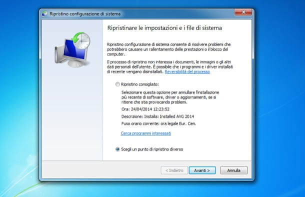 Ripristino Windows 7