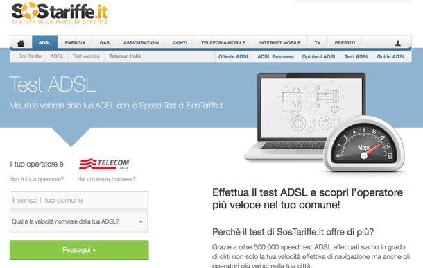 Speed test ADSL