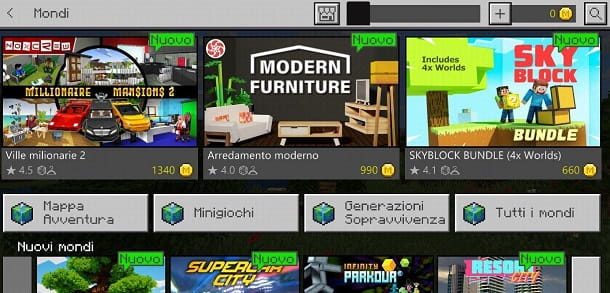 Mondi Minecraft PE
