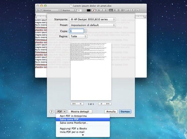 Convertire in PDF su Mac