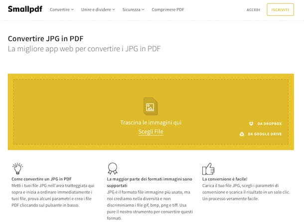 Convertire JPG in PDF