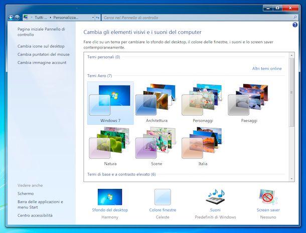 Temi predefiniti Windows 7