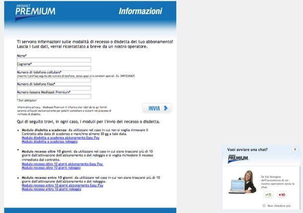 Modulo disdetta Mediaset Premium