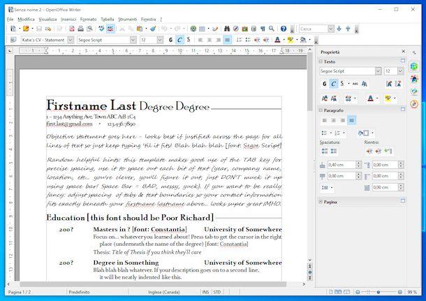 Modello curriculum OpenOffice