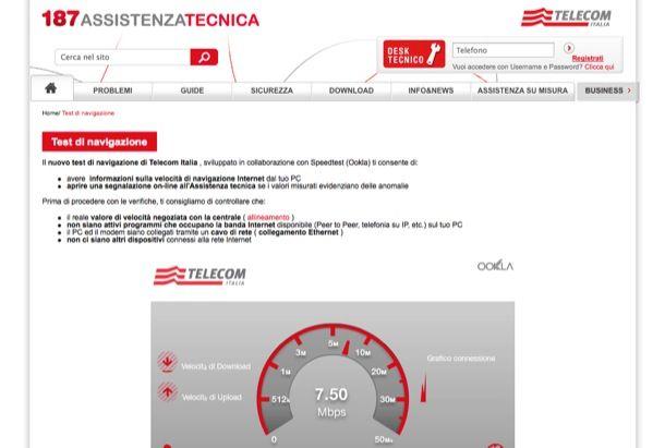 Test ADSL Telecom Italia