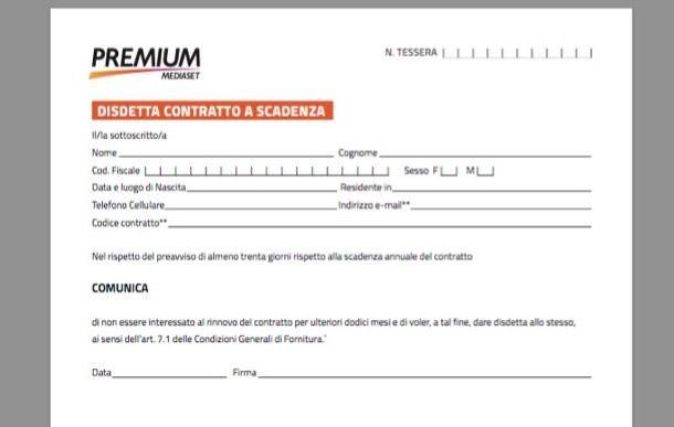 Modulo disdetta Premium