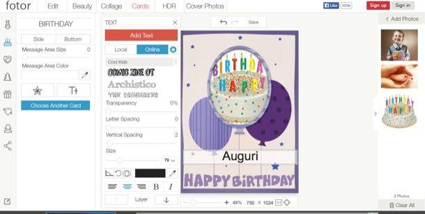 Biglietti di compleanno da stampare