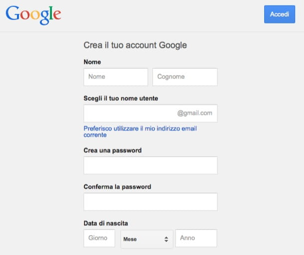 Crea account Gmail