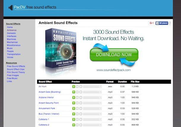 effetto sonori wav