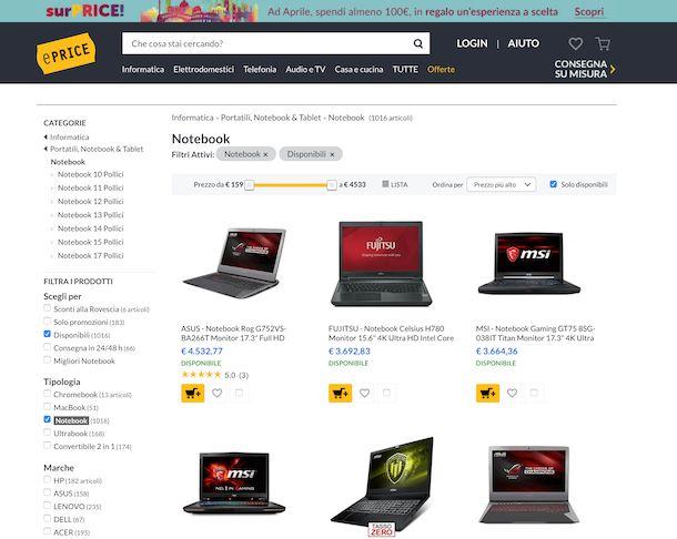 PC portatili offerte