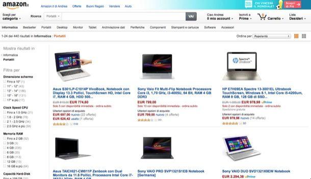 Computer portatili prezzi