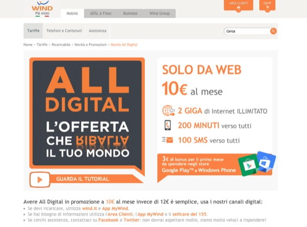 Offerta Wind All Digital