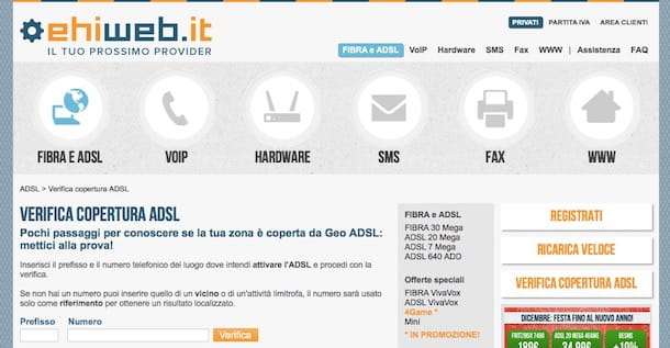 Verifica copertura ADSL