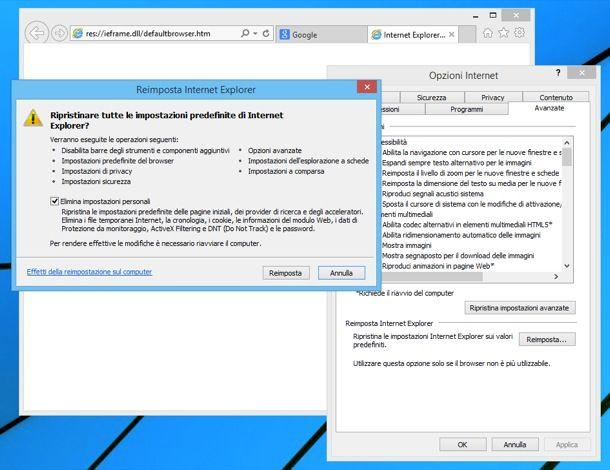 Ripristinare Internet Explorer