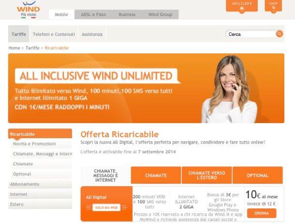 Tariffe Wind cellulari