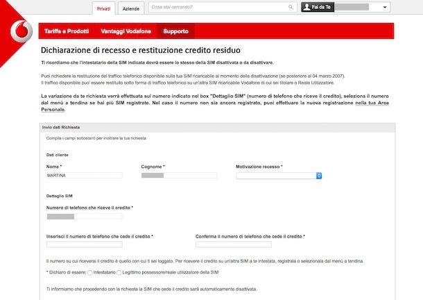 Disdetta Vodafone