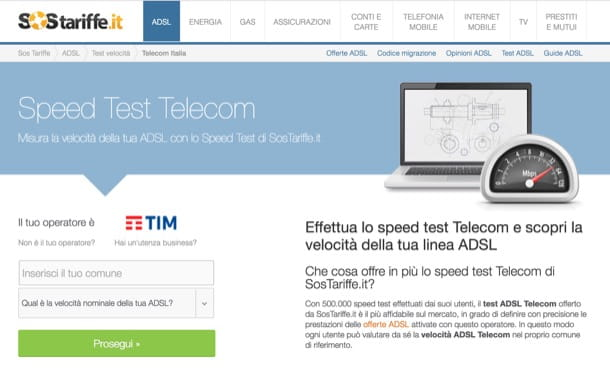 Speed Test ADSL Telecom Italia