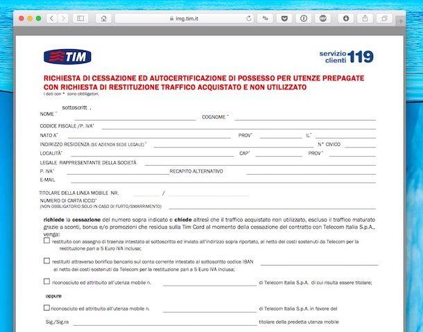 TIM modulo disdetta
