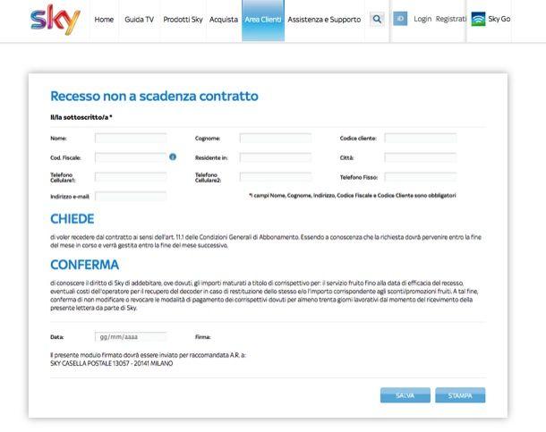 Disdetta contratto Sky