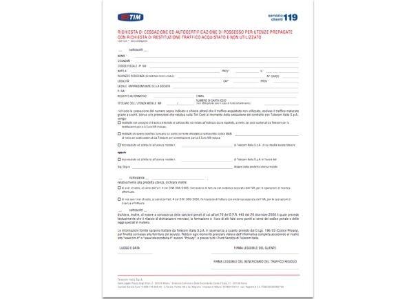 Modulo di disdetta abbonamento TIM