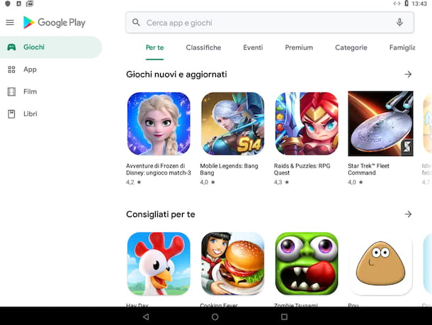 Play Store su tablet