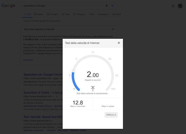 Speed test di Google