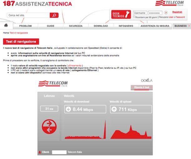 Verifica connessione ADSL