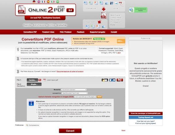 Convertire file PDF in ODT