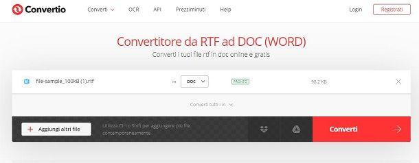Convertire RTF in DOC con Convertio