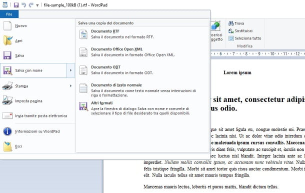 Convertire RTF in DOC con WordPad