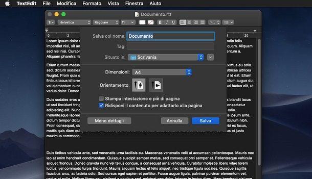 Convertire RTF in PDF con TextEdit