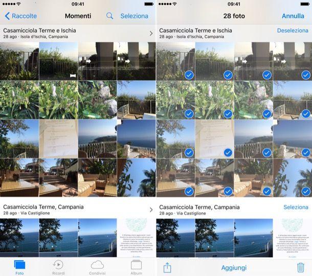 Come selezionare tutte le foto su iPhone