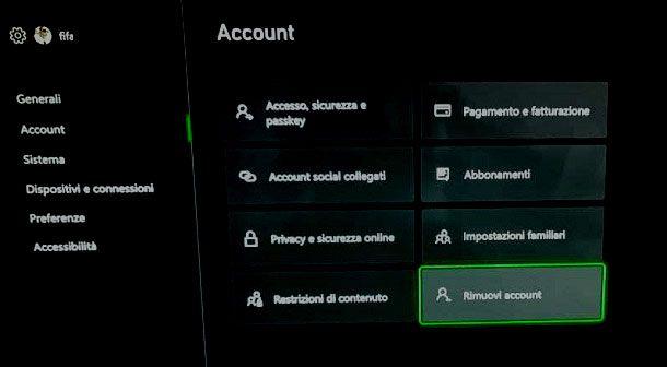 Come eliminare profilo Xbox Series S