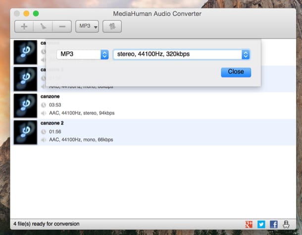 Come convertire AAC in MP3