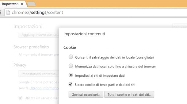 Come bloccare i cookie