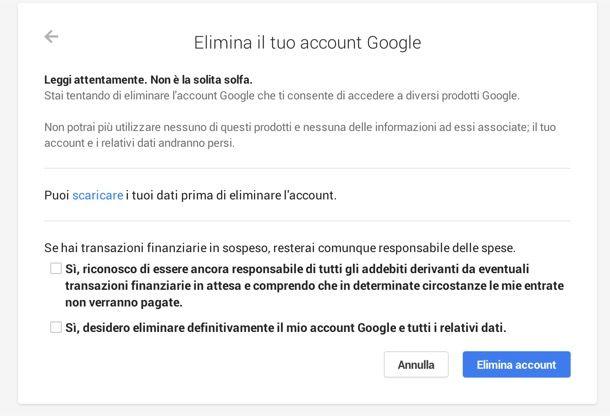 Come cancellare un account Gmail