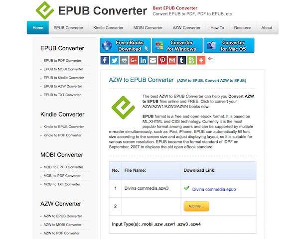Come convertire AZW in ePub