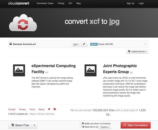 Come convertire XCF in JPG