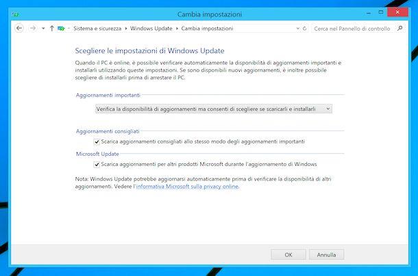 Windows Update su Windows 8
