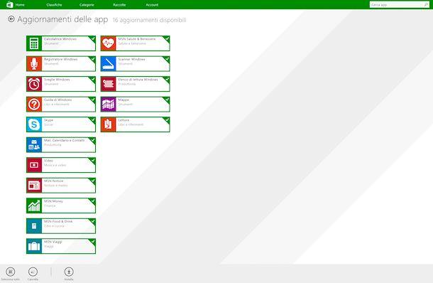 Microsoft Store aggiornamento applicazioni