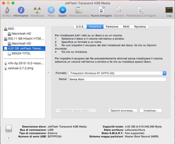 Come formattare NTFS con Mac