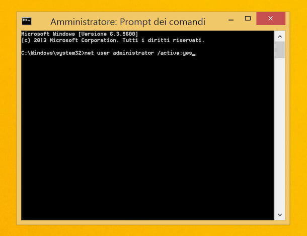 Come loggarsi amministratore Windows 8