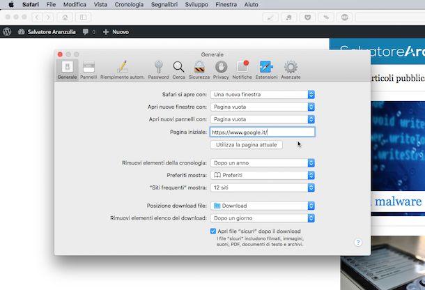 cambiare pagina iniziale su mac