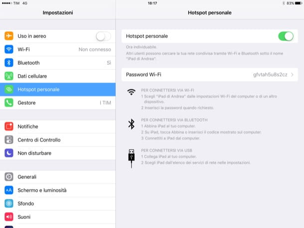 Come usare hotspot iPad
