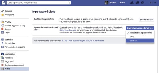 Disabilitare l'avvio automatico dei video su Facebook