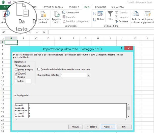Come trasformare TXT in Excel