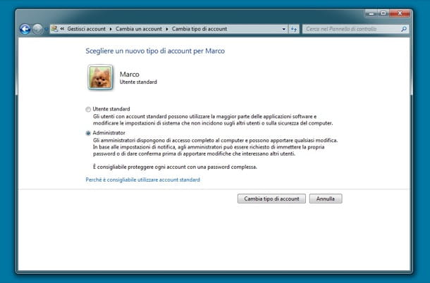 Come loggarsi amministratore Windows 7