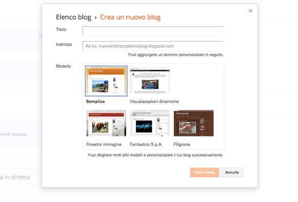 Creazione blog gratuito