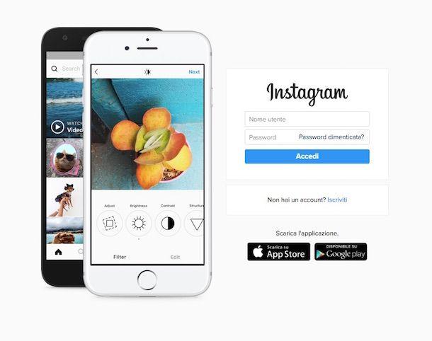 Instagram registrazione Web