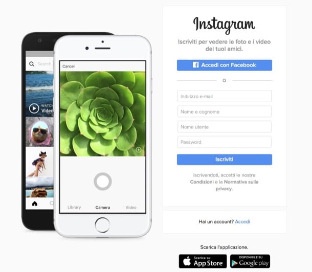 Come registrarsi su Instagram